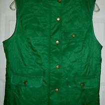 Nwt Talbots Womans Quilted Green Full Zip Vest 3 Front Snap Pockets Size Medium Photo