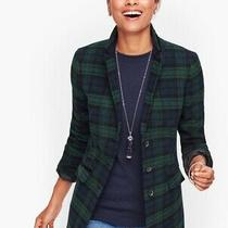 Nwt Talbots Wool Blend Black Watch Plaid Long Blazer Size 8 Photo