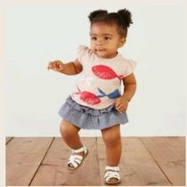 Nwt Tea Collection Baby Girls Top Shirt 3-6 M Pesci Graphic Tee Peach Blush 2016 Photo