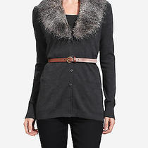 Nwt the Limited Belted Fur Collar Gray Sweater Cardigan  Msrp 79.90   Sz Sm Photo