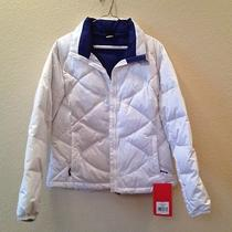 Nwt the North Face Aconcagua White 550 Down Fill Puffer Jacket Sz L W/bolt Blue Photo