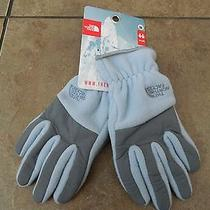 Nwt the North Face Jewel Blue Denali Fleece Gloves Girls Youth M Sold Out Color Photo