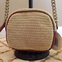 Nwt the Sak Aliso Camera Crossbody Bag in Tan and Gold Knit Photo