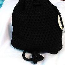 Nwt the Sak Mexi Black Crochet Backpack Drawstring Closure. Photo
