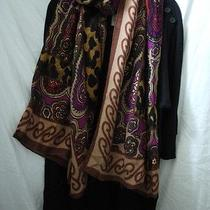 Nwt Theodora & Callum Scarf Brown Purple Red Leopard Wearable Art Wrap Sarong Photo
