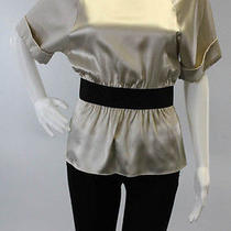 Nwt Theory Beige Silk Shot Sleeve Boat Neck Cinched Waist Blouse Sz P Photo