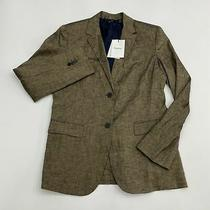 Nwt Theory Blazer Coat Women's Size 8 Long Sleeve Tan Black Single Breasted Photo