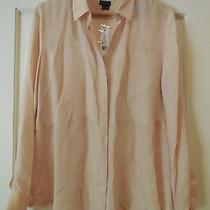 Nwt Theory Durlia Rose Quartz Silk Georgette Shirt Top Blouse Sz L 235  Photo