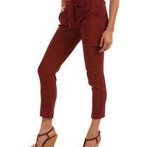 Nwt - Theory Linen Sidonia T Pants in Mahogany Red Size 2 Photo