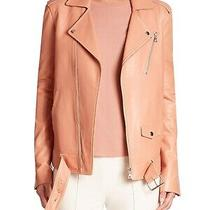 Nwt Theory Tralsmin Lamb Leather Jacket Pink Rose Size Xs Photo