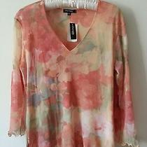Nwt  Therapy Top Sz Xl- Muted Orange & Soft Green  Long Sleeves v-Neck  Nice  Photo