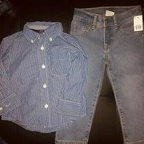 Nwt Toddler Boys 3 Piece Gap Outfit Jeans & L/s Button Up Shirt Top Tee Size 2t Photo