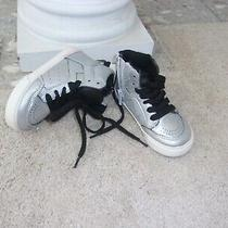 Nwt Toddler Boys Sz 7  Gap  Silver Hi-Top Sneakers Shoes Sport Boot Photo