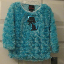 Nwt Toddler Girls Aqua Blue / Black Sequin Cat Faux Fur Girls Rule Top  Size 2t Photo