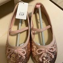 Nwt Toddler Girls Size 8 Baby Gap Shoes Champagne Gold Ballet Glitter Photo