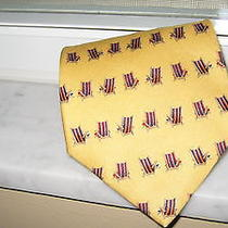 Nwt Tommy Bahama Handmade Gold/beach Chairs Print Silk Dress Tie Photo