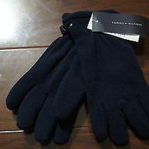 Nwt Tommy Hilfiger Boy's Girl's Navy Solid Snow Winter Fleece Gloves New Sz 8-10 Photo