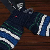 Nwt Tommy Hilfiger Boy's Navy Stripes Winter Fleece Lined Thumb Gloves 12-18 Mos Photo