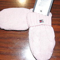 Nwt Tommy Hilfiger Girl Pink Solid Snow Winter Fleece Lined Gloves Sz 6-12 Mos Photo