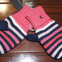 Nwt Tommy Hilfiger Girl's Pinkstripes Snow Winter Fleecelined Thumb Gloves 2t-3t Photo