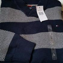 Nwt Tommy Hilfiger Mens Navy Blue Stripe Sweater Large Photo