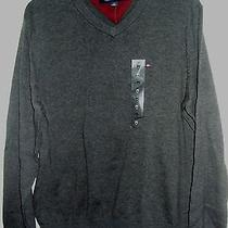 Nwt Tommy Hilfiger  v Neck 50  M   Sweater Charcoal Gray Cotton  Photo