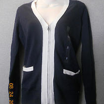 Nwt Tommy Hilfiger Women's Sweater Cardigan Size M Navy Msrp 64 Photo
