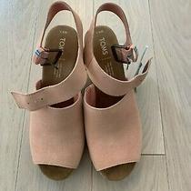 Nwt Toms Tropez Wedge Sandal - Women's Size 8.5 Coral Pink Suede Photo