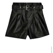 Nwt Topshop Belted Faux Leather Black Shorts Size 6 Photo