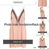 Nwt Topshop Embroidered Cover-Up Slipdress Blush Medium Photo