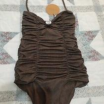 Nwt Tori Praver 1-Pc Swimsuit Ruched Bandeau Shell Cheeky Size S Acacia Mikoh Photo