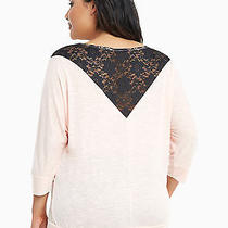 Nwt Torrid Blush Pink 3/4 Sleeve Black Lace Inset Top Size 3x Photo