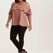 Nwt Torrid Blush Pink Ruffled Tie Cold Shoulder Top Plus Size 2 Photo