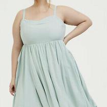 Nwt Torrid Plus Size 3 Mint Blue Challis Sharkbite Skater Dress W/ Pockets Photo