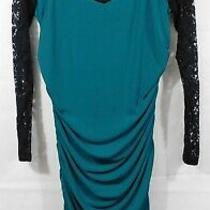 Nwt Torrid Teal/black Lace Yoke Ruched Bodycon Dress Sz. 1 (Plus) Photo
