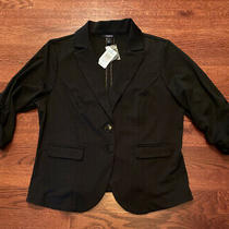Nwt Torrid Women's Black Ponte Knit Blazer Rouched 3/4 Sleeves Two Button Sz 2 Photo