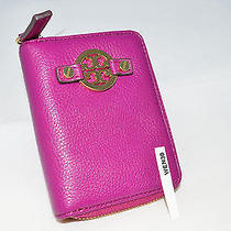 Nwt Tory Burch Amanda Leather Fuchsia Pink Zip Key Chain Key Case 32139039 Photo