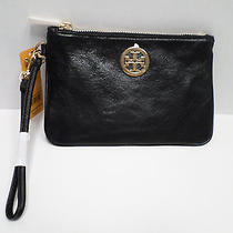 Nwt Tory Burch Black and Gold Robinson Leather Wristlet Iphone Handbag Wallet Photo
