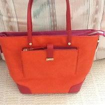 Nwt Tory Burch Clay Small E/w Equestrian Colorblock Leather Tote Bag Orange Pink Photo