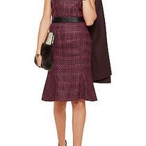 Nwt Tory Burch Drew Fluted Boucle Tweed Dress 12 L Dark Plum  Photo