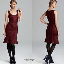 Nwt Tory Burch Drew Sleeveless Glazed Plum Tweed Fluted Hem Dress 8 375.00 Photo