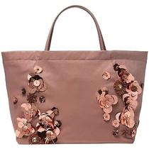 Nwt Tory Burch Flower Cluster Nylon Tote Handbag Dark Pink Blush 350 Photo