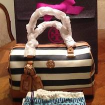 Nwt Tory Burch Kerrington Stripe Printed Satchel With Gift Box Photo