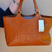 Nwt Tory Burch Luggage Brown Leather Bombe Burch Tote Purse Handbag 90009601 Photo