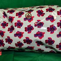 Nwt Tory Burch Medium White/purple Floral Brigitte Cosmetic Case Bag 90009176 Photo