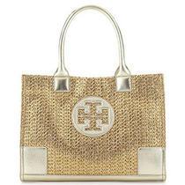 Nwt Tory Burch Metallic Gold Metallic Mini Ella Logo Straw Tote Handbag Leather Photo