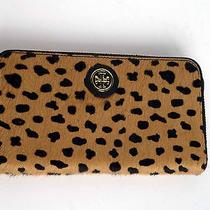 Nwt Tory Burch Robinson Haircalf Zip Continental Leather Wallet Clutch Cheetah Photo