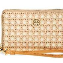 Nwt Tory Burch Robinson Ivory Rattan Printed Iphone Case Wallet Clutch Phone 125 Photo