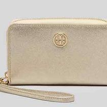 Nwt Tory Burch Robinson Saffiano Gold Leather Iphone Wallet Clutch Smart Phone Photo