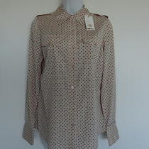 Nwt Tory Burch Silk Blush Champagne Mini Dot Brigitte Blouse Top Shirt 10 Photo